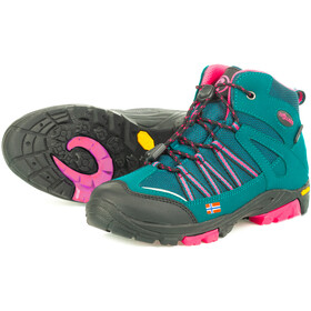 TROLLKIDS Lofoten Hiker Botas Corte Medio Niños, smaragd/rubine